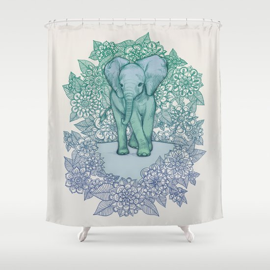 Emerald Elephant in the Lilac Evening Shower Curtain