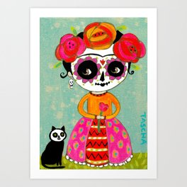 Day Of The Dead Frida with Black Cat Art Print
