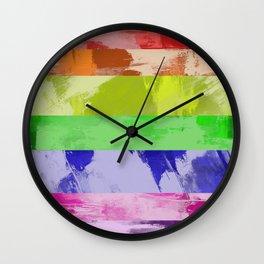 Rainbow Stripes - Abstract, textured, red, orange, yellow, green, blue, indigo, violet artwork Wall Clock