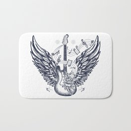 Guitar and wings Bath Mat