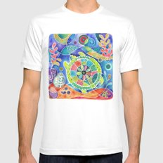 Sea Turtle Abstract MEDIUM White Mens Fitted Tee