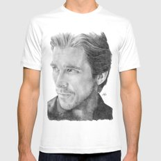 Christian Bale Traditional Portrait Print MEDIUM Mens Fitted Tee White