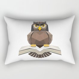 Vector, Brown Owl fly with the book Rectangular Pillow