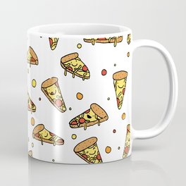 Cute Smiling Happy Pizza Pattern on white background Coffee Mug