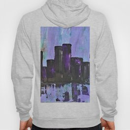 Purple City. Cyber Punk City. Jodilynpaintings Purple City Abstract Hoody