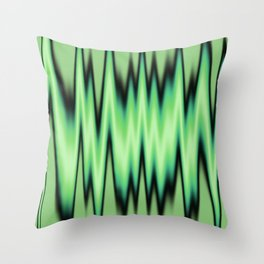Green and Black Waves Throw Pillow