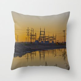 Powerline Sunset Throw Pillow