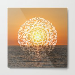 Fiery Orange Sunset Mandala Metal Print