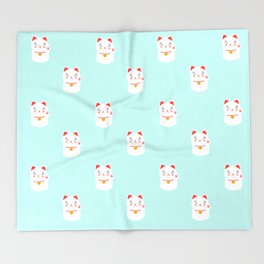 Lucky happy Japanese cat pattern Throw Blanket