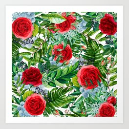 Ruby Roses Collage Art Print