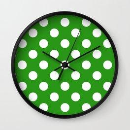 Slimy green - green - White Polka Dots - Pois Pattern Wall Clock