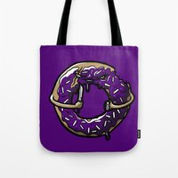 doughnut Tote Bags featuring Hurtz Doughnut by Jonah Makes Artstuff