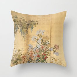 Japanese Edo Period Six-Panel Gold Leaf Screen - Spring and Autumn Flowers Deko-Kissen