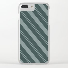 Scarborough Green PPG1145-5 Thick and Thin Angled Stripes on Night Watch PPG1145-7 Clear iPhone Case