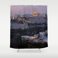 """greece Shower Curtains featuring Greece by """"CVogiatzi."""