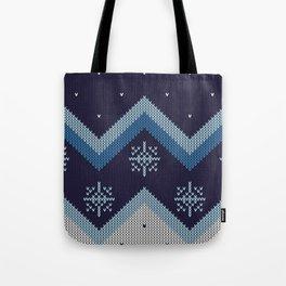 blue knit Tote Bag