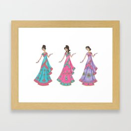 Indian Women Dancing Framed Art Print