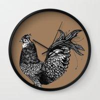 chicken Wall Clocks featuring Chicken  by Aubree Eisenwinter