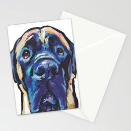 Fun ENGLISH MASTIFF Dog bright colorful Pop Art Painting by LEA Stationery Cards