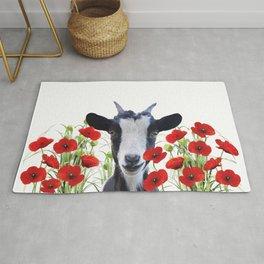 Goat between Poppies Field Rug