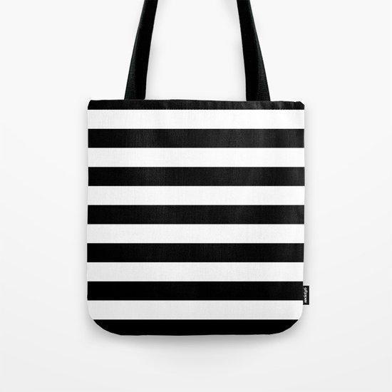 Horizontal Stripes (Black/White) Tote Bag