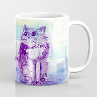 space cat Mugs featuring Space Cat! by Colorful Simone