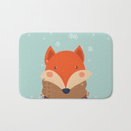 Fox Under Snow in the Christmas Time. Bath Mat