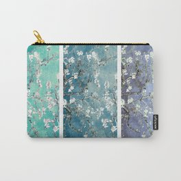 Van Gogh : Almond Blossoms Turquoise Teal Steel Blue Panel Art Carry-All Pouch