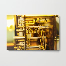 golden clockwork with gears Metal Print