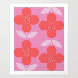 Retro Pink Flower Art Print