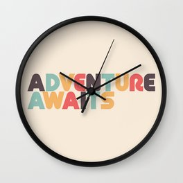 Adventure Awaits - Retro Rainbow Wall Clock