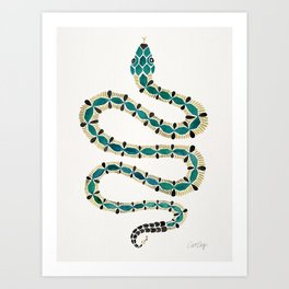 Emerald & Gold Serpent Art Print