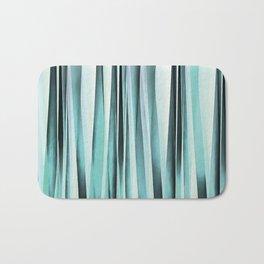 Cyan Blue Ocean Stripey Lines Pattern Bath Mat