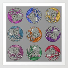 A rainbow of yarn and cats Art Print