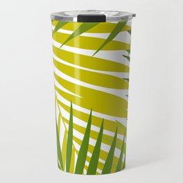 Palm leaf silhouettes seamless pattern. Tropical leaves. Travel Mug