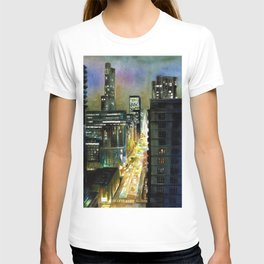 Chicago At Night Watercolor Painting T-shirt