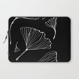 ginko biloba leaves in black and white Laptop Sleeve