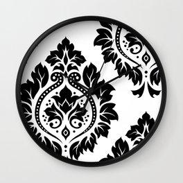 Decorative Damask Art I Black on White Wall Clock