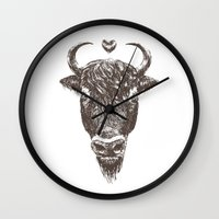 bison Wall Clocks featuring bison by adi katz
