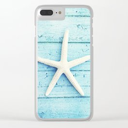 Starfish Beach Photography, Aqua Seashell Art, Coastal Nautical Photograph Clear iPhone Case