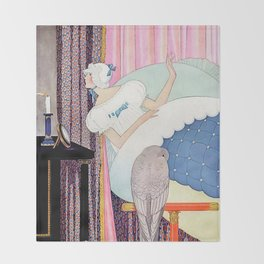 """George Wolfe Plank Art Deco Design """"Bedtime Candle"""" Throw Blanket"""