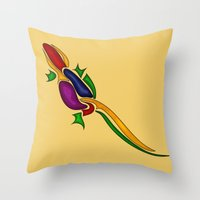 lizard Throw Pillows featuring Lizard by Aleksandra Mikolajczak