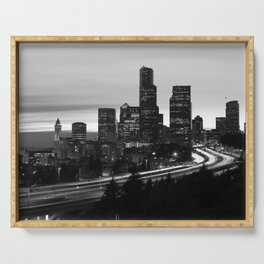 Seattle Skyline Sunset City - Black and White Serving Tray