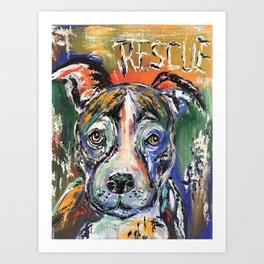 Rescue Dog Pitbull Animal Abstract Art Print