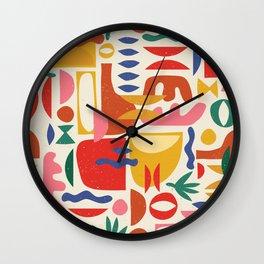 Mid Century Summer Abstraction Pattern Wall Clock
