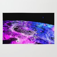 the moon Area & Throw Rugs featuring Purple Blue Galaxy Moon  by 2sweet4words Designs