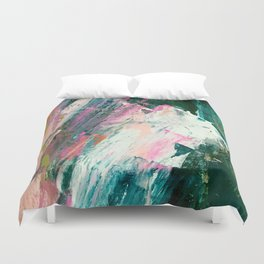 Meditate [2]: a vibrant, colorful abstract piece in bright green, teal, pink, orange, and white Duvet Cover