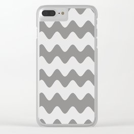 Pantone Pewter Gray Soft Zigzag Rippled Horizontal Line Pattern Clear iPhone Case