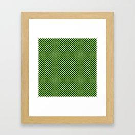Jasmine Green and Black Polka Dots Framed Art Print