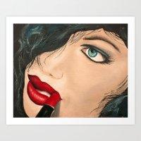 lip Art Prints featuring Lip Stick by Stews-Art